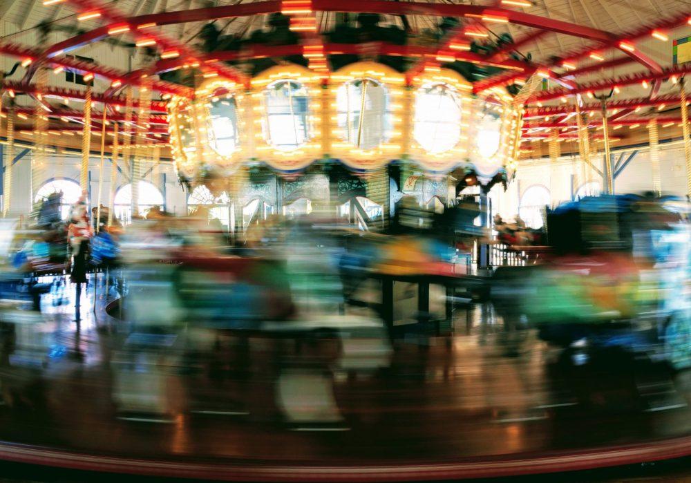 Vertigo. Merry go round, spinning and out of focus